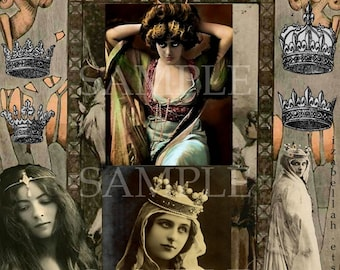 Sofortiger digitaler Download Collage Blatt viktorianischen Prinzessin Krone-Mixed-Media Papier Kunst Gothic Edwardian Gypsy Witch Princess Boho Kronen