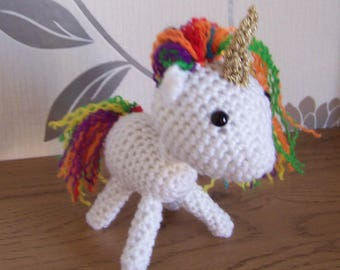 Unicorn with coloured mane & tail, Handmade crocheted toy, Crocheted Animal, Crocheted unicorn Toy, Stuffed soft toy