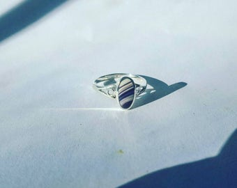 1 Real Wampum sterling silver ring with thin band size