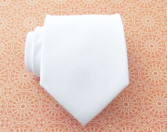 Mens Tie White Silk Necktie With *FREE* Matching Pocket Square Set