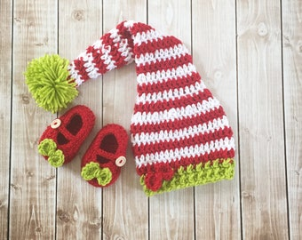 Little Miss Elf Hat and Matching Booties/ Elf Stocking Cap/ Elf Christmas Photo Prop Available in 4 Sizes- MADE TO ORDER