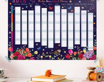 2018 Wall Planner Calendar - Year Wall Planner - Floral Wall Planner - Wall Calendar - Calendar for a Gardener