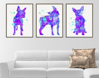 Boston Terrier Art, Set of 3 Prints, Watercolor Boston Terrier, Boston Terrier Print, Boston Terrier Painting, Dog Lover Gift, Pet Lover