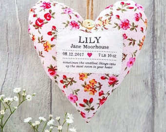 New Baby Girl Gift - Personalised Heart Produced in Your Choice of Fabric. Supplied Gift Boxed