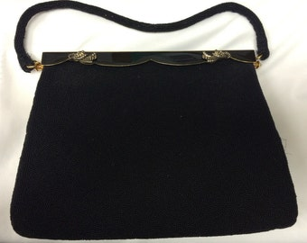 40's Evening Bag black with gold handle