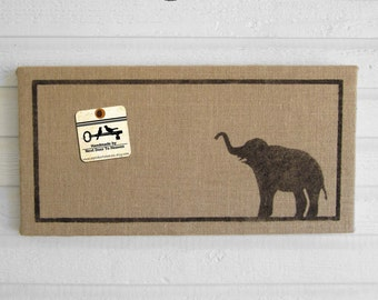Miss Baba the Elephant - 12 x 24 Burlap over Cork Message Board, Pin Board, Memo Board, Bulletin Board - Elephant wall decor