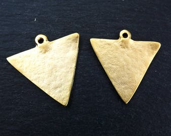 2 Triangle Minimalist Geometric Earring Necklace Pendant 22k Matte Gold Plated Turkish Jewelry Making Supplies Findings Components