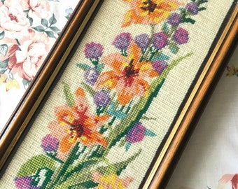Beautiful Vintage Framed Floral Wool Tapestry Needlepoint