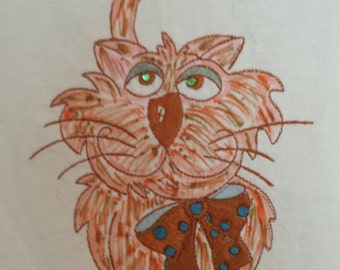 Embroidered Red Tabby  Size: L HUGE CLEARANCE SALE