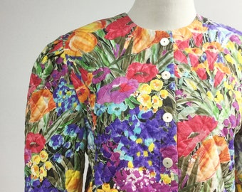 Quilted Floral Jacket w Red, Yellow, Purple Flowers - Short Cropped Jacket with Puffed Shoulders - Vintage 80s Bright Colorful Spring Jacket