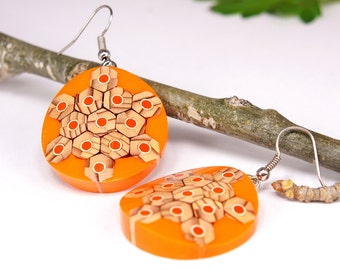 Earrings from colored pencils, Orange earrings, Jewelry from pencils, Handmade jewelry, colored jewelry, Pencil art, Earrings