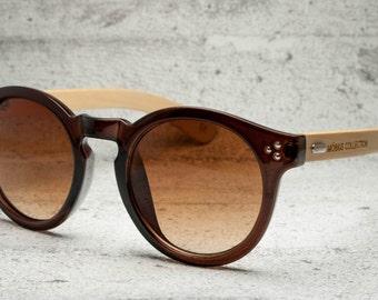 Hepburn - Round Brown Eco-friendly Bamboo Sunglasses
