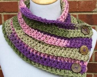 Crochet Cowl, Crochet Bulky Cowl, Chunky Button Cowl, Boston Harbor Scarf, Neck Warmer, Gift For Her, Purple, Pink, Green, Handmade Cowl