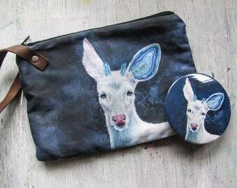 Wristlet Bag Deer Art Crystal Blue Agate Achates