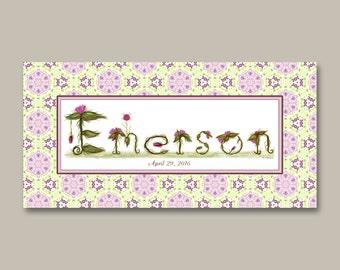 Floral Baby Girl Nursery Decor Gift Name Sign