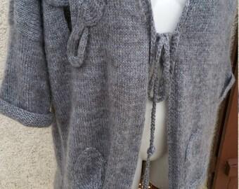 Angora Mohair Cardigan gray coat warm mid length