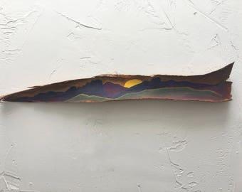 Mountain Range Bark Painting