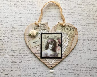 Shabby Vintage Style Altered Hanging Heart Collage 1