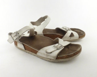 Birkenstock Sandals White size 41 Rio White Faux Leather Vegan