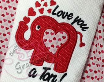 Elephant Valentine Shirt - Appliqued and Personalized - Love you a Ton