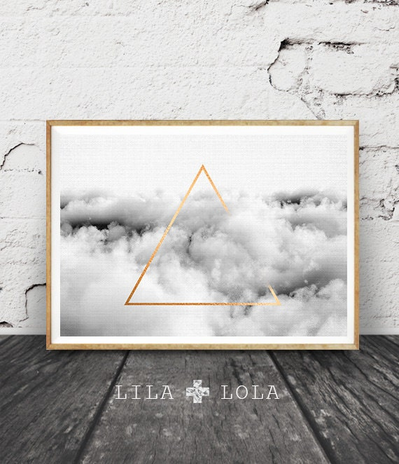 Minimalist Geometric Wall Art, Cloud Print, Gold Triangle, Graphic Design, Printable Poster, Digital Download, Black and White Landscape