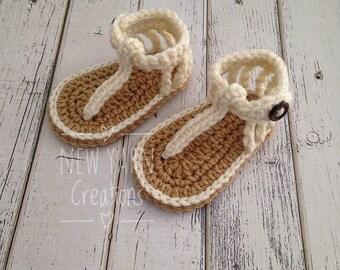 Crochet Baby Sandals, Girl Sandals, Crochet Flip Flops, Baby Gladiator Sandals, Cream Sandals, Baby Shoes, Summer Sandals,  MADE TO ORDER!