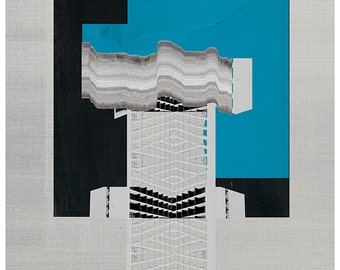 Abstract collage, Geometric art print, Abstract composition 55