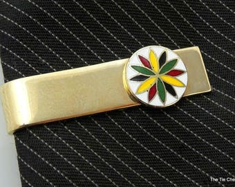 Vintage Tie Clip Bar Colorful Floral Pinwheel Enamel Short 1""