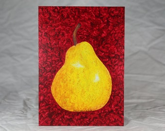 Forelle Pear Painting, Original Fruit Painting, 5X7 Hardboard, Acrylic Painting, Food Art, Kitchen Decor, Small Format Art, Dining Rm Decor
