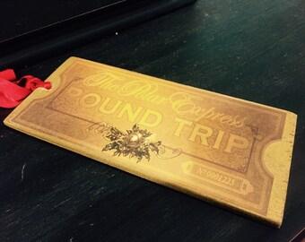 Polar Express Golden Ticket, Shiny Ticket, Polar Express Party Birthday, gold ticket Bell Ticket Train Ticket Ornament Chr