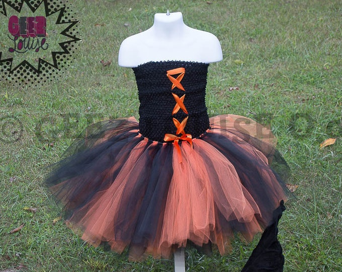 Orange Witch Halloween inspired Costume Tutu Girl Skirt Boutique Bows Clothing Baby Toddler