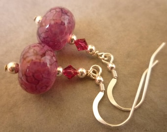 Deep fuchsia pink drop earrings, lamp work glass with Swarovski crystals and sterling silver ear wires.