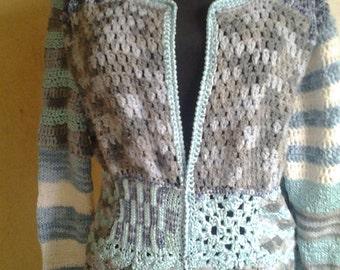 Cardigan crochet, crochet, patchwork