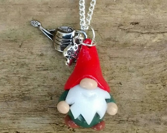 Tiny little 3cm Gnome pendant with toadstool charm. Red/Jungle Green