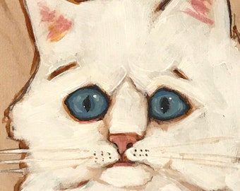 White Cat Can't Forget Fast Enough Acrylic Painting on Wood