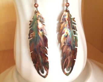 feather earrings, boho feather earrings, feather jewelry, flame painted, copper feather, oxidized copper, torched copper, painted feathers