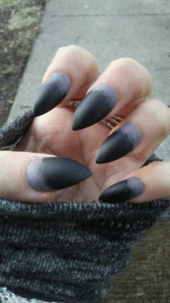 Gothic Matte Black & Gray Stiletto Nails Acrylic Goth Press