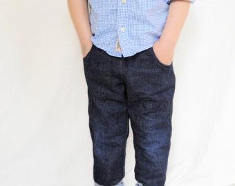 Organic denim pants boy, kids slim baggy pants, toddler boy baggy pants, toddler denim pants, slim pants for boys, baggy pants denim