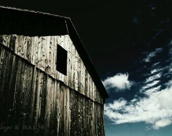 Barn photography, rustic barn, architecture photography, abandoned building, haunting photography, dark building,barn board, nostalgic print