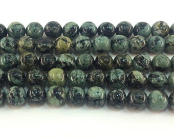 "Green Zebra Jasper 9mm round beads approx. 15.5"" strand or 7.5"" strand"