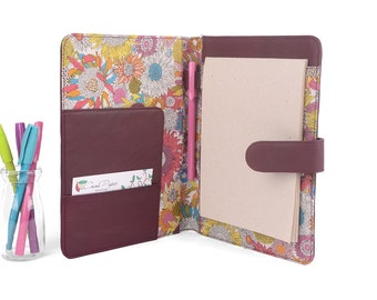 A5 Fabric Lined Leather PadFolio / Portfolio / Pad Holder with 2 inside pockets. Personalized.