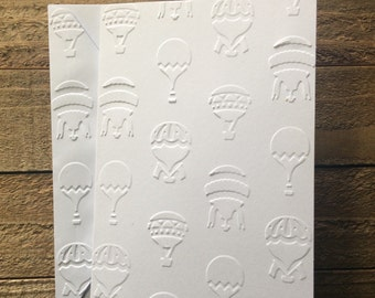 Hot Air Balloon Card Set, White Embossed Cards, Greeting Card Set, Stationery Set, Cards for Travelers, Blank Note Cards and Envelopes