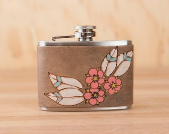 Flask - Leather Flask with Flowers and Feathers - Dakota pattern in pink and antique black - 4oz Hip Flask