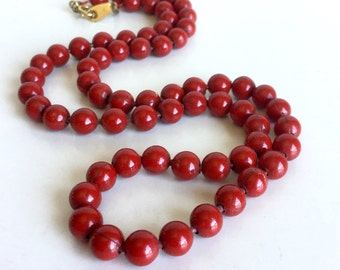 Red Ball Chain Necklace, Vintage 60s Metal Glossy Shiny Rich Red Finish - Nice Weight & Feel - Gold Flower Clasp - 18-19 Inch Layering Piece