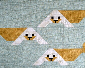 Seal Pup Quilt Block Pattern, PDF, Instant Download, modern patchwork, polar, arctic, animal, cute