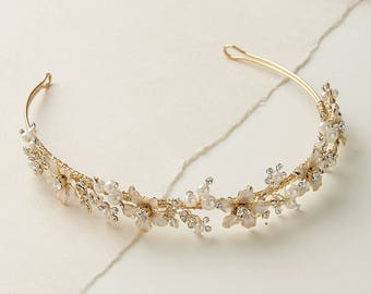 Pearl Gold Bridal Headband, Nature Inspired Headband, Vintage Headband, Bridal Headband, Bridal Headpiece, Gold Wedding Headband ~TI-215