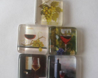 Wine Lover's Square Glass Magnets Set of 5