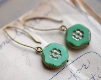 Pale Green Antique Earrings / Czech Glass Beads / Brass / Neo Vintage Jewelry