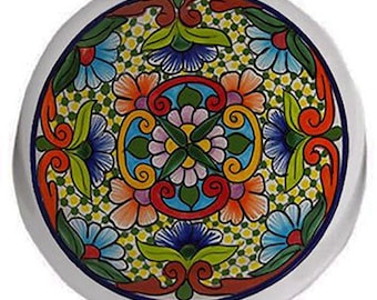 Red Tones Talavera Style Ceramic Knob or Pull for Furniture or Cabinet