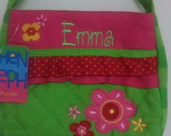 Personalized Stephen Joseph Flower Quilted Purse